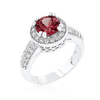 Garnet Halo Engagement Ring, size : 09