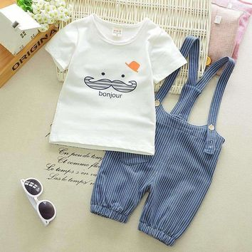 """Baby's' Cotton Moustache """"Bonjour"""" Shirt and Overalls"""