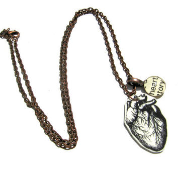 Anatomical Heart Word Necklace in Copper Extra Long Library Jewelry
