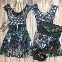 Chevron Cross Back Body Dress