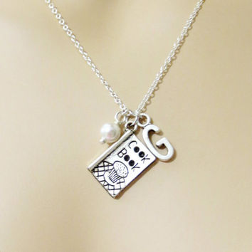 Cooking, Book, Cook, Book, Initial, Pearl, Necklace, Chef, Necklace, Chef, Jewelry, Cooking, Necklace, Personalized, Necklace, Initial