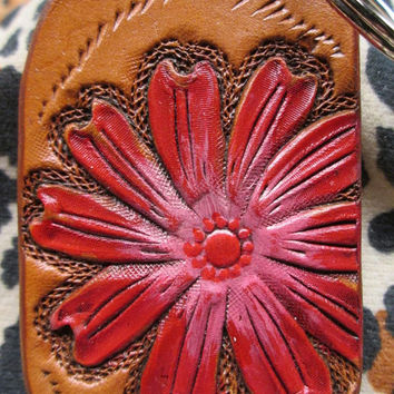 Red floral key ring , red flower key holder , Southwestern leather key fob , keychain , key ring , key fob , red flower