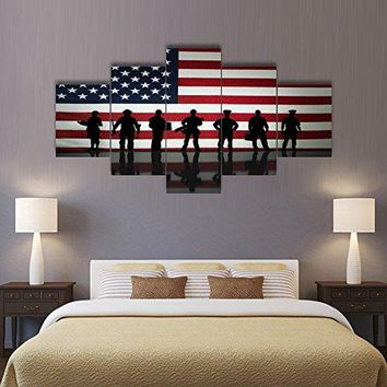 Wall Decor Painting on Canvas Police Pictures for Living Room Military Posters and Prints Silhouette's in front of an American Flag Modern 5 Panel Artwork Framed Gallery Wrap Stretched(60''W x 40''H)