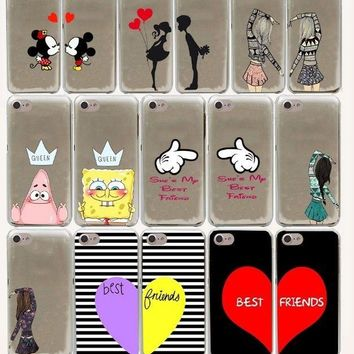 cute kiss bbf best friends lover Hard Phone Cover Case for iphone 5 6 7 8 plus X
