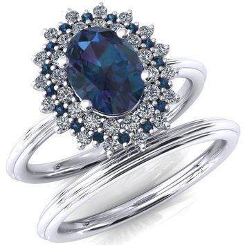 Eridanus Oval Alexandrite Cluster Diamond and Alexandrite Halo Wedding Ring ver.1