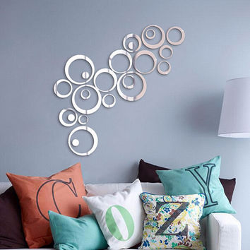 Hot Sales Circles Mirror Style Removable Decal Vinyl Art Mural Wall Sticker Home for Sofa setting wall dining room