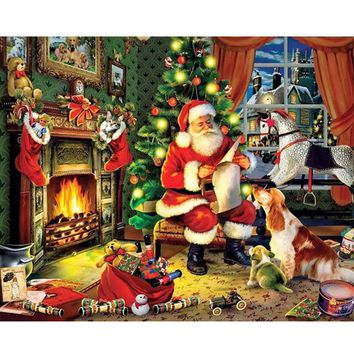 DIY PBN Christmas Arcylic Painting By Numbers On Canvas Framed Wall Pictures Art For Living Room Home Decoration PH9498