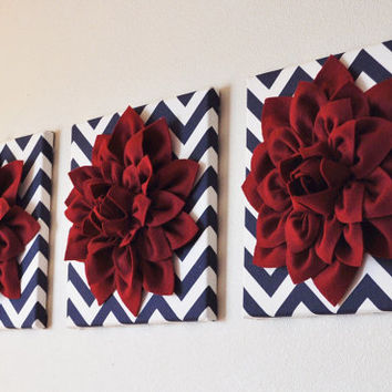 "SET OF THREE Wall Flower Decor. Cranberry Dahlia on Navy and White Chevron 12 x12"" Canvas Wall Art."