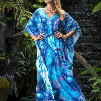 Perfection – Blue silk dress, Designer silk gown, Flower of life sacred geometry bohemian dress, Silk caftan, Hand sewn loose fit dress