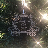 CLEAR ACRYLIC Princess Carriage ornament, Christmas Ornament, Disney Wedding, Princess Ornament, Disney Christmas Ornament