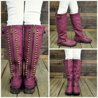 Easy Rider Berry Studded Zipper Riding Boots