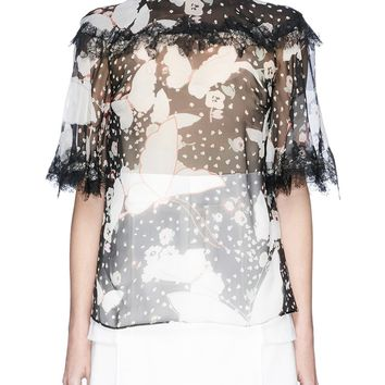 Valentino | Scarf neck butterfly print silk chiffon top | Lane Crawford - Shop Designer Brands Online