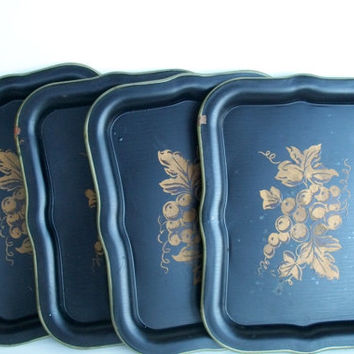 Vintage Trays Set Of 4 Metal Tole Painting  Nashco Products  -Measuring 8 And  3/8 X 6 And  1/4 Inches
