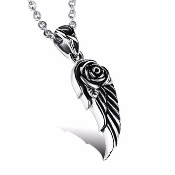 Stainless Steel Vintage Rose Angel Wing Pendant Tibetan Gothic Necklace Unisex Jewlery for Women Men Dropshiping