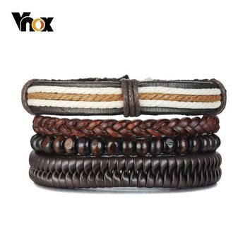 Vnox 4 pcs/ Set Wood Beads Bracelets for Men Braided Leather Punk Bangle Bohemia Holiday Jewelry Adjustable Length