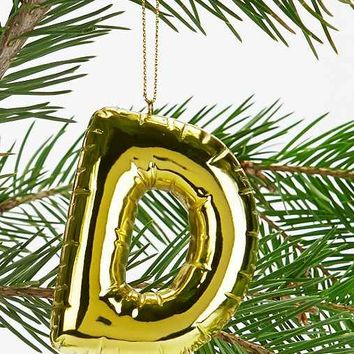Gold Balloon Letter Ornament-