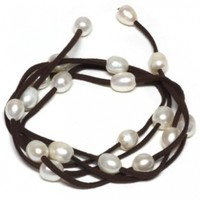 """48"""" White Cultured Freshwater Pearl on Brown Leather Wrap Bracelet / Necklace"""