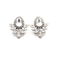 Black Floral Rhinestone Stud Earrings Ear Studs _ 8553
