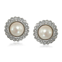 Carolee BOWquet Pearl Button Earrings - Silver/Pearl