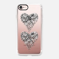 two white sparkly hearts iPhone 7 Carcasa by Marianna | Casetify