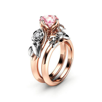 Rose Engagement Ring Set White Gold Ring Pink Moissanite Ring Flower Rose Gold Rings