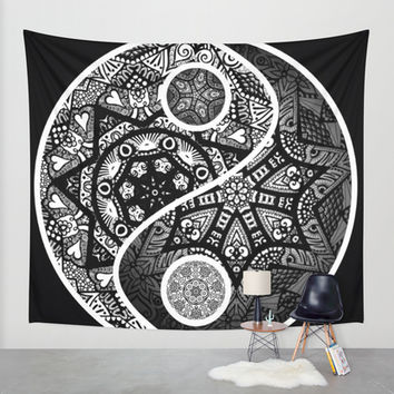 Yin Yang Zentangle Wall Tapestry by Wealie