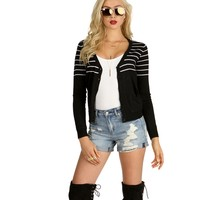 Black Striped Up Cardigan