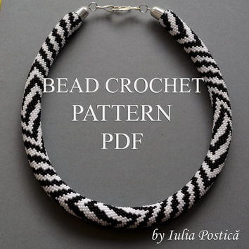"Pattern for bead crochet necklace ""Zebra"" / Bead crochet pattern / Crochet rope pattern / Black, White / PATTERN ONLY"