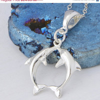 Valentines Day Sale Kissing Dolphins - Sterling Silver - Dolphin Necklace - Dolphin Pendant - Nautical Jewelry - Silver Dolphin