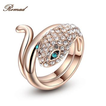 Romad Brand Classic Zirconia Rose Gold Color Snake Ring Women Party Wedding Finger Rings Jewelry Size 6 7 8