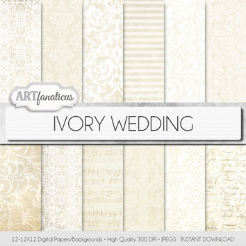 "Ivory wedding paper ""IVORY WEDDING"" elegant ivory wedding paper featuring damask, lace, stripes, musical sheet, floral patterns, and more"