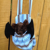 Little Brown Bat and Blue Stuffed Animal Carrier Great Gift for Kids Snack Water Bottle Carrier Too