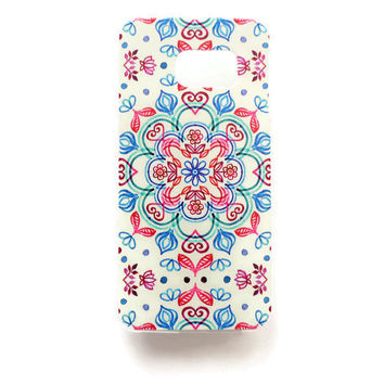 Samsung Galaxy S6 Edge Mandala Case Hard Plastic Galaxy S6 Edge Geometric Pattern Back Cover Samsung S6 Edge Cover Boho SE171