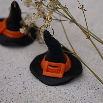 Witch Hat with Buckle Earrings. The best for Halloween. Polymer clay jewelry.