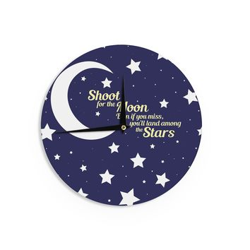 "NL Designs ""Moon And Stars Quote"" Blue White Wall Clock - Outlet Item"