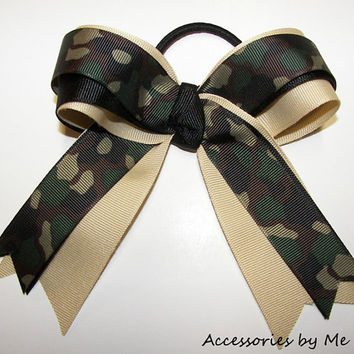 Camo Cheer Bow Green Camouflage Girls Ponytail Streamer Competition Uniform Army Fundraiser