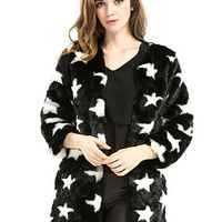Black Star Print Faux Fur Coat