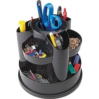 Staples® 10 Compartment Rotating Desk Organizer, Black