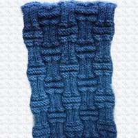 Denim and Navy Blue Ribbed Stitch Scarf | Cathy Creates - Handmade knit and crochet accessories and apparel