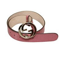 Gucci Women's Pink GG Canvas Interlocking G Buckle Imprime Belt 90/36