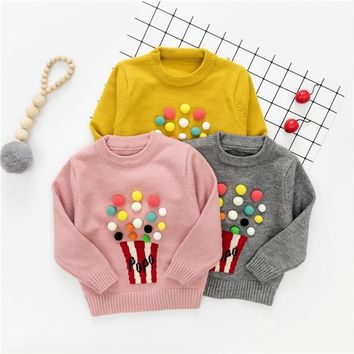 WYNNE GADIS Baby Girls Long Sleeve O Neck Popcorn Knitwear Sweater Pullover Jumper Kids Clothes casaco roupas de bebe