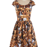 ModCloth Quirky Long Cap Sleeves A-line Hooked on a Canine Dress