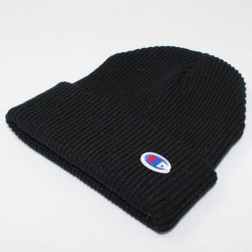 Champion Winter Purple Color Embroidery Men And Women Couples Knitted Hats Black G
