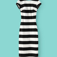 Black and White Striped Backless Short Sleeve Bodycon Midi Dress