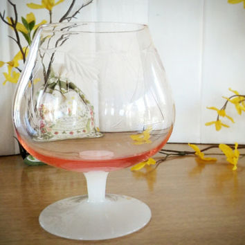 Pink Depression Snifter Etched, Vintage Milk Chardonnay Glass, Wheat Glass Snifter, Wedding Toasting Glass