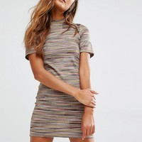 Honey Punch T-Shirt Dress In Multi Stripe