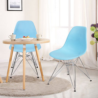 Mid Century Modern Dining Chairs with Chrome Legs Light Blue (Set of Two)