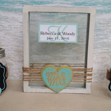 "Rustic ""Mr & Mrs"" Unity Sand Frame Set - Includes Custom Monogram - Chalkboard Ceremony Blended Family Mason Jar Pouring Vases"