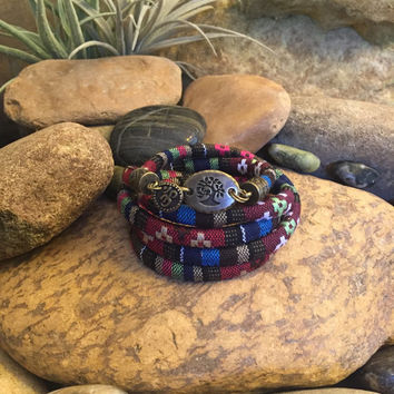 Yoga, Wrap Bracelet, Om Jewellery, Stacking Bracelet, Mother's Day Gift, Coworker Gift, Sisters Gift, Boho, Tree, Bohemian Earth Designs