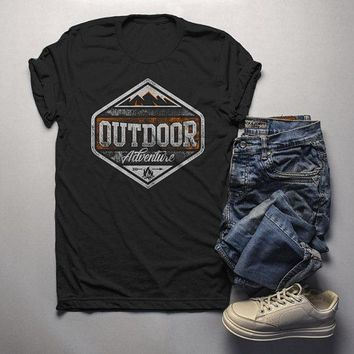 Men's Outdoor Adventure T Shirt Mountains Camping Shirt Grunge Distressed Shirts